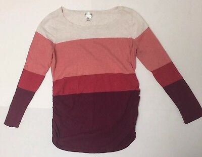 Motherhood Maternity Large Long Sleeve Sweater Knit Top Ruched Striped