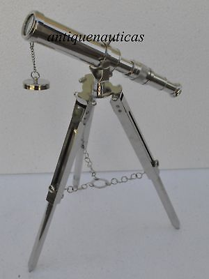 Vintage Nautical Full Brass Chromed Finish Telescope Cf658