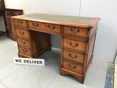 Reproduction Antique Pedestal Desk - Yew / Walnut - Leather Top - Delivery £55!!