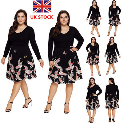 Plus Size Women Floral Long Sleeve Swing Dress Rockabilly Evening Party Dress