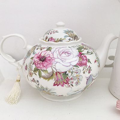 Shabby Vintage Chic Antique Pink Rose White Fine China Floral Teapot Gift Boxed