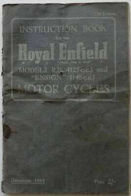 Royal Enfield RE and Ensign Instruction Book - 1953