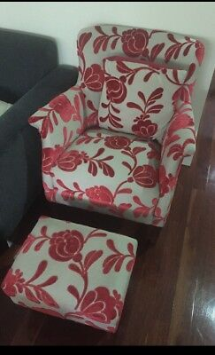 refurbished antique chair and footstool