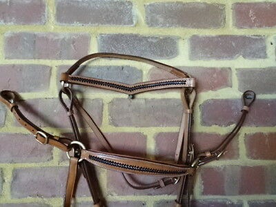 Barcoo bridle ri16bb  barcoo with platted brow band and breastplate set