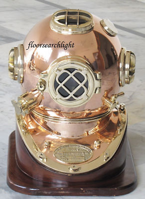 Nautical Solid Shiny Brass & Copper Divers Diving Helmet Us Navy Mark V Cf665