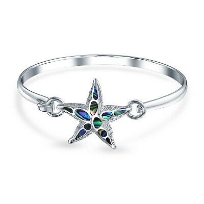 Nautical Beach Starfish Iridescent Abalone Shell Bangle Bracelet Sterling Silver