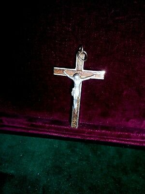 19th century Antique crucifix cross Jesus Christ religious in wood and metal