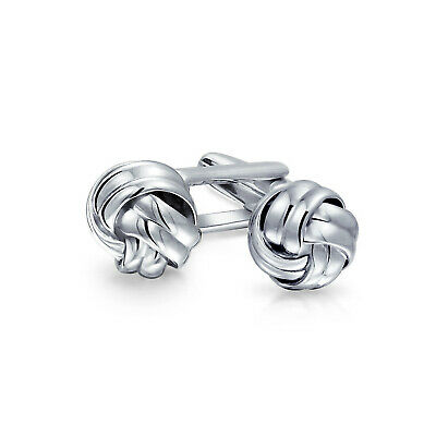 Single Knot Sided Woven Rope Braid Twist Shirt Cufflinks Sterling Silver Gift