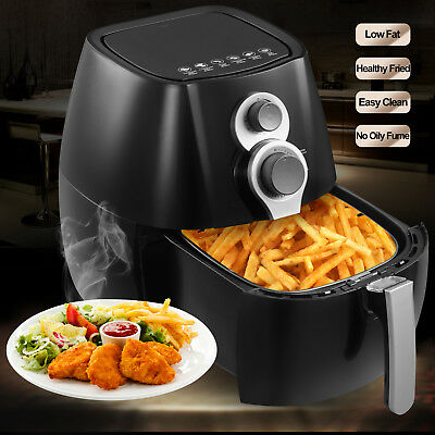 1350W Electric No Oil Air Fryer Timer Temperature Control W/6 Cooking Presets