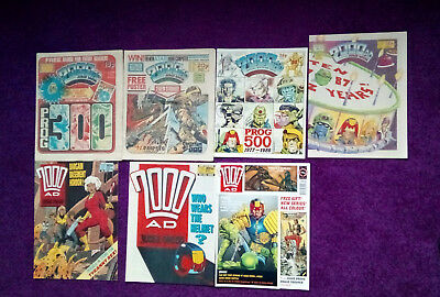 2000AD - job lot of 7 progs - 300,335,500,520,583,584 & 723,VG+/close to mint