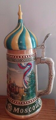 """Moscow City Scenes 12 1/2"""" Tall 95% Zinn Beer Stein"""