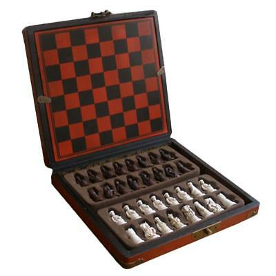 Retro Wooden Chess Set Antique Chinese Soldiers Chessman Family Leisure Game