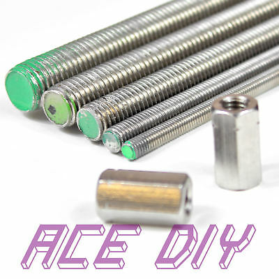 A2 Stainless Steel All Thread Rod + 2 Hex Connectors  M3 - M30 Various Lengths