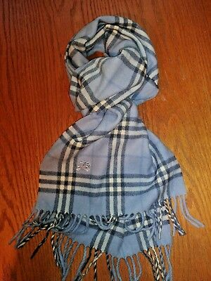 Burberry London Vtg 100% Lambswool Blue Nova Check  Scarf Made In England.