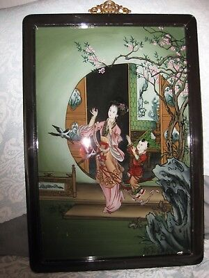 Chinese Painting On Glass In Ebbonised Frame Aprox Size 14 Inch By 21 Inch
