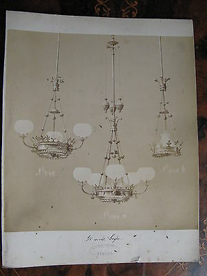 Albumen Photo Gas Light Fitting Chandeliers c1870