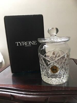 Tyrone Crystal lidded honey / preserve pot Fine cut & Fully stamped In Box