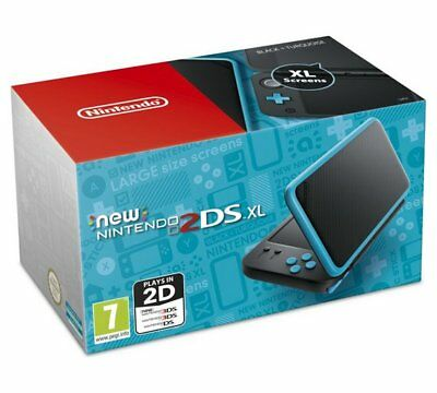 New Nintendo 2DS XL NERO & TURCHESE CONSOLE PORTATILE COMPATIBILE GIOCHI 3DS