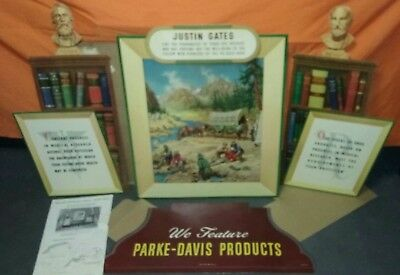 Parke Davis Justin Gates Pharmacy Store Window Display Vintage Advertising 1950