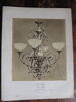 Albumen Photo Gas Light Fitting Chandelier c1870