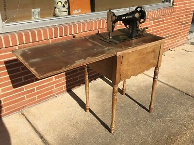Portable Sewing Machine Table.Antique 1920s White New Willard Electric Portable Sewing