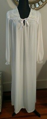 Vintage Night Flowers NY Winter White LS  Nightgown Sz L/XL Brushed Back Cotton