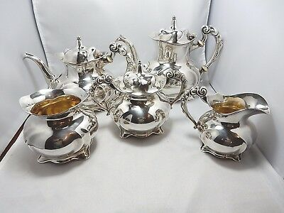 Sterling 5 piece DECO style tea set by International VERY RARE form C1570