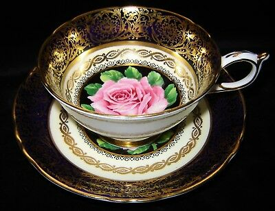 PARAGON Cup & Saucer Pink Cabbage Rose-Gold Gilding-Royal Blue&Cream Porcelain