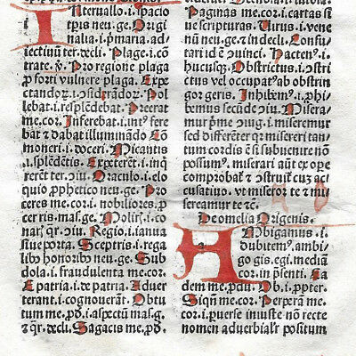 1 Leaf 1494 Incunabula Medieval Latin MAMMOTRECTUS  & 4 Red Handwritten Letters