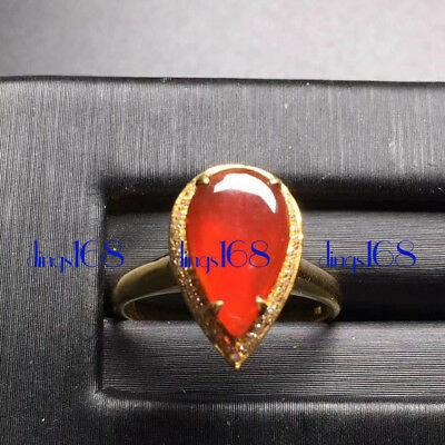 18K Gold 100% Natural A Jadeite Red Water drop Women Ring Jewelry JD1832