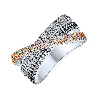 9b46739f4 Bling Jewelry Tri Color Pave CZ Band Criss Cross Ring Rose Gold Plated Brass
