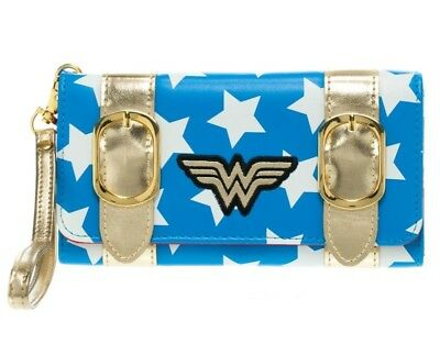 DC Comics Wonder Woman Satchel Fold Wallet Purse Blue with Stars and Gold Trim