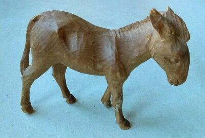NICE EARLY-20thc. HAND CARVED FOLK ART TREEN WOODEN CRIB FIGURE of ASS or DONKEY