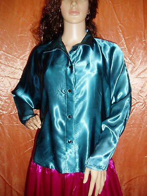 80s green liquid satin blouse size 12