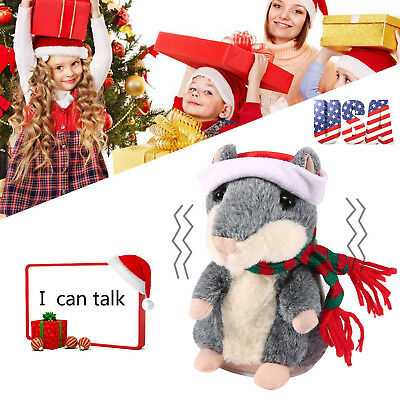 Talking Hamster Christmas Plush Toy Mouse Pet Sound Soft Cute Gift Kid Children