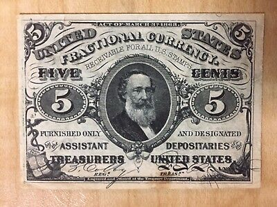 1863 5 Cents 3Rd Issue Fractional Currency  Unc Condition No Reserve