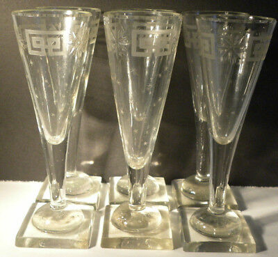 6 Champagne GOBLET CUT CRYSTAL 19th CALICI CRISTALLO MOLATO '800 neoclassici