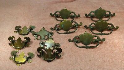 Antique 11  LOT Ornate Victorian Vintage Brass Furniture Drawer pulls~Mixed