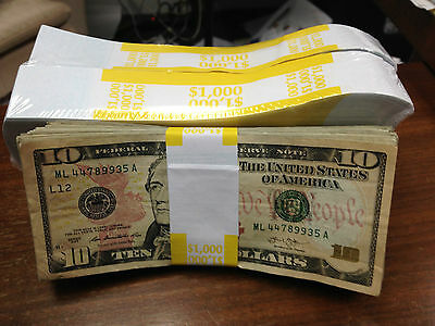 100-New Self-Sealing Currency Bands-$1000 Denomination-Straps Ten Dollar Bills