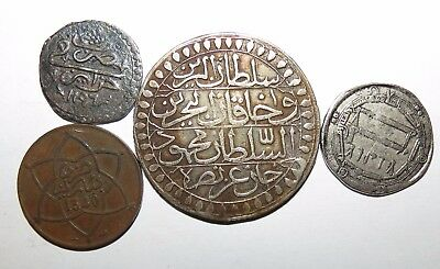 Lot of 4 Arabic silver ans cooper coins to identify