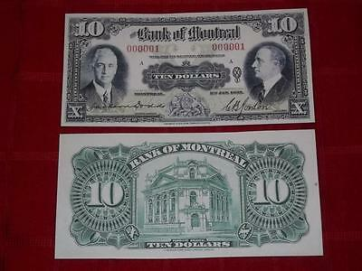 1935 Unc $10.00 Bank Of Montreal Copy Note Read Description!