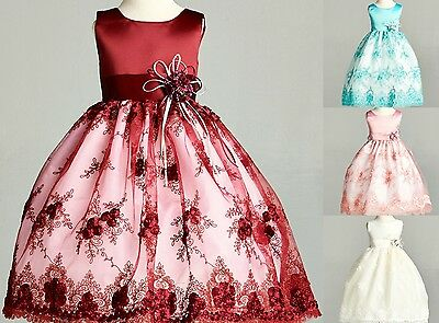 Satin Floral Lace Flower Girl Dress Fall Holiday Recital Christmas Toddler #11