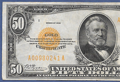 1928 $50    ♚♚ Gold Certificate ♚♚  Hard To Find