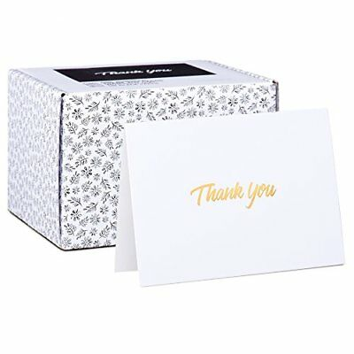 100 Thank You Cards - White Bulk Note Cards with Gold Foil Embossed Letters