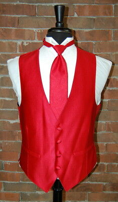 Mens Large Red Ruby Dynasty Full Back Tuxedo Vest / Tie by Flow Formals