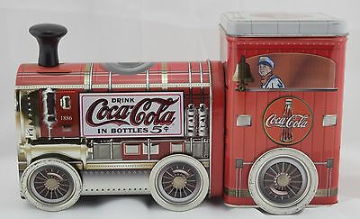 2003 Coca-Cola Collectible Tin Choo Choo Train 2 Canisters in 1 Movable Wheels
