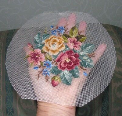 Antique  Petit Point Embroidery on Net - Roses