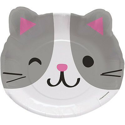 8 Purr-fect Kitty 9  Dinner Lunch Paper Plates Birthday Party Cat Kittens Event  sc 1 st  PicClick UK & PURR-FECT KITTY CAT Birthday Party Tableware Decorations Supplies ...