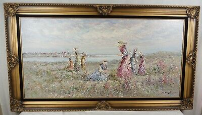 Framed Oil On Canvas Painting Marie Charlot Original Beautiful! 55 x 31 Large!