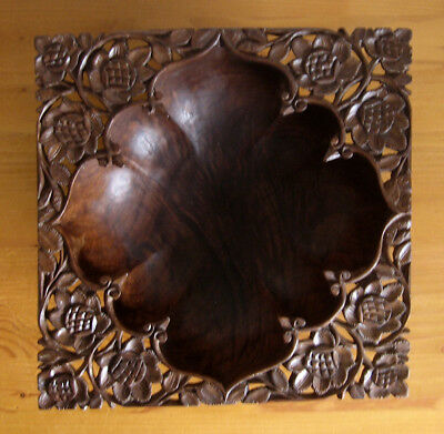 """25cm/9.75"""" Square Asian Hand Carved Wooden Footed Bowl"""